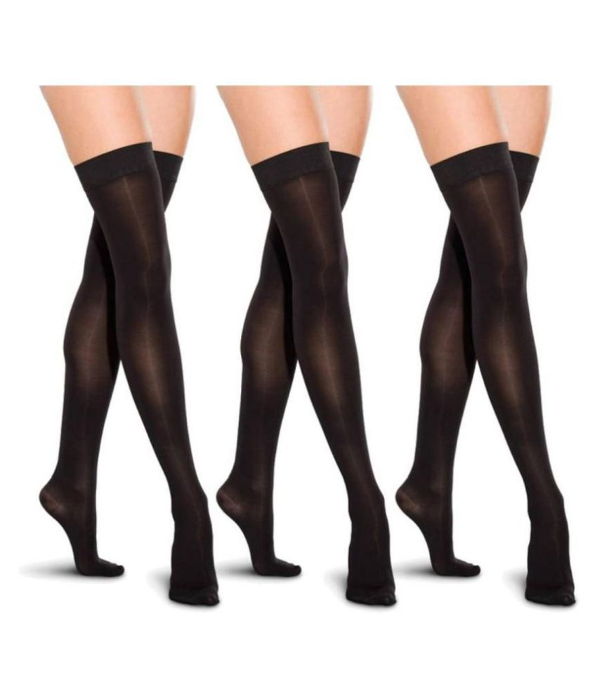 Fashion Guru Trading Black Super Fit Stocking For Girls Pack of 3