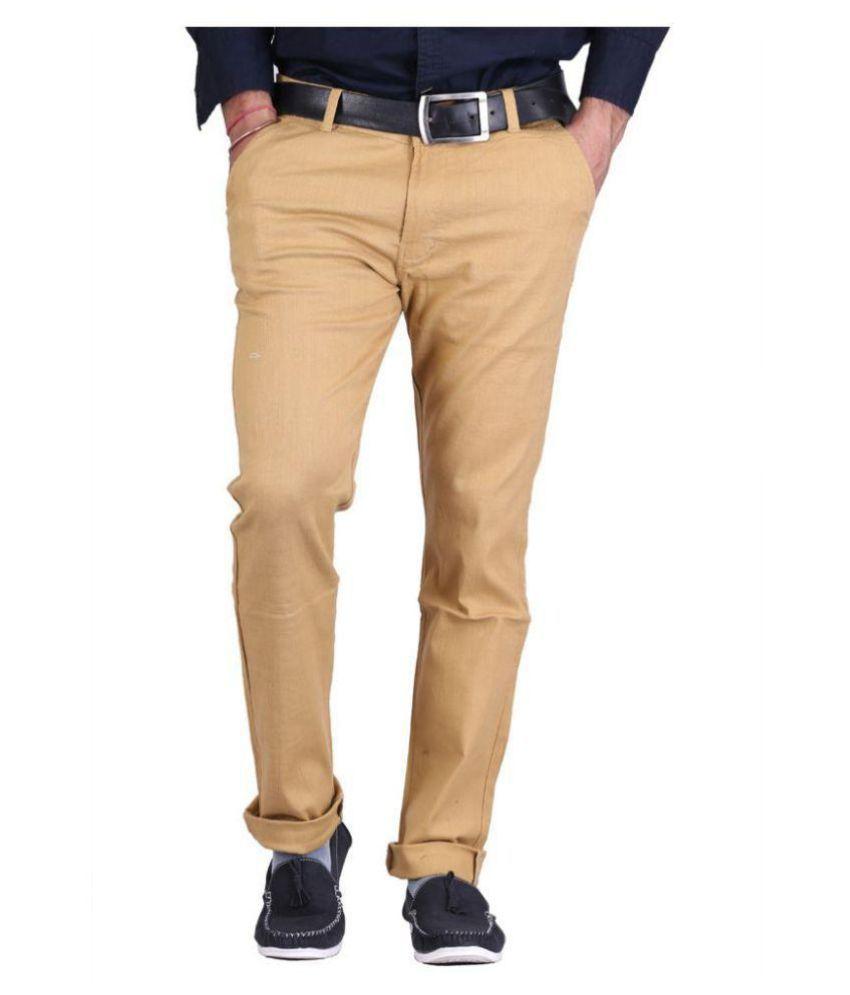 Mad & Shine Khaki Regular -Fit Flat Chinos