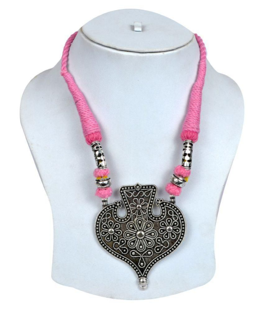 Tradinational German Silver Pink Thread Necklace
