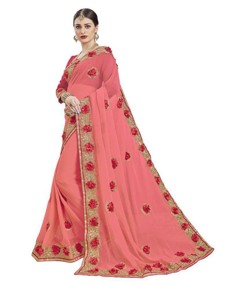 shree maruti creation Pink Chiffon Saree