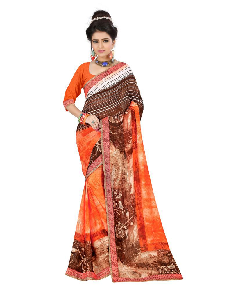 Anshika Lifestyle Orange Georgette Saree