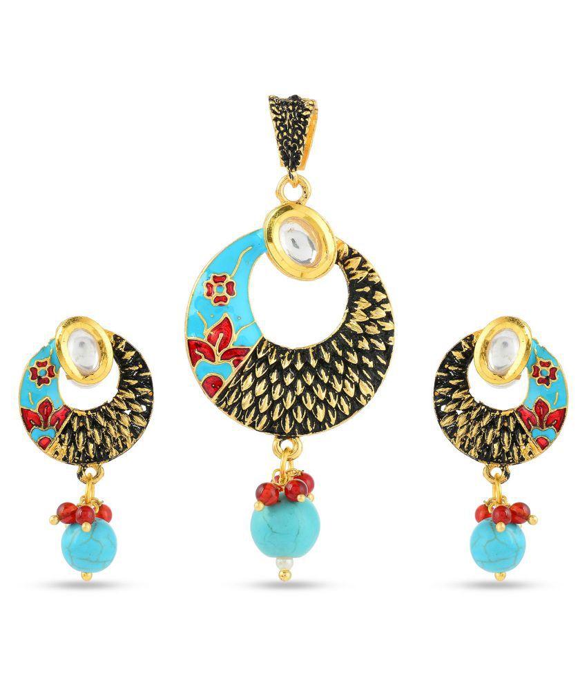Tistabene Floral Enamelled Traditional Designer Stylish Party Wear Pendant Set