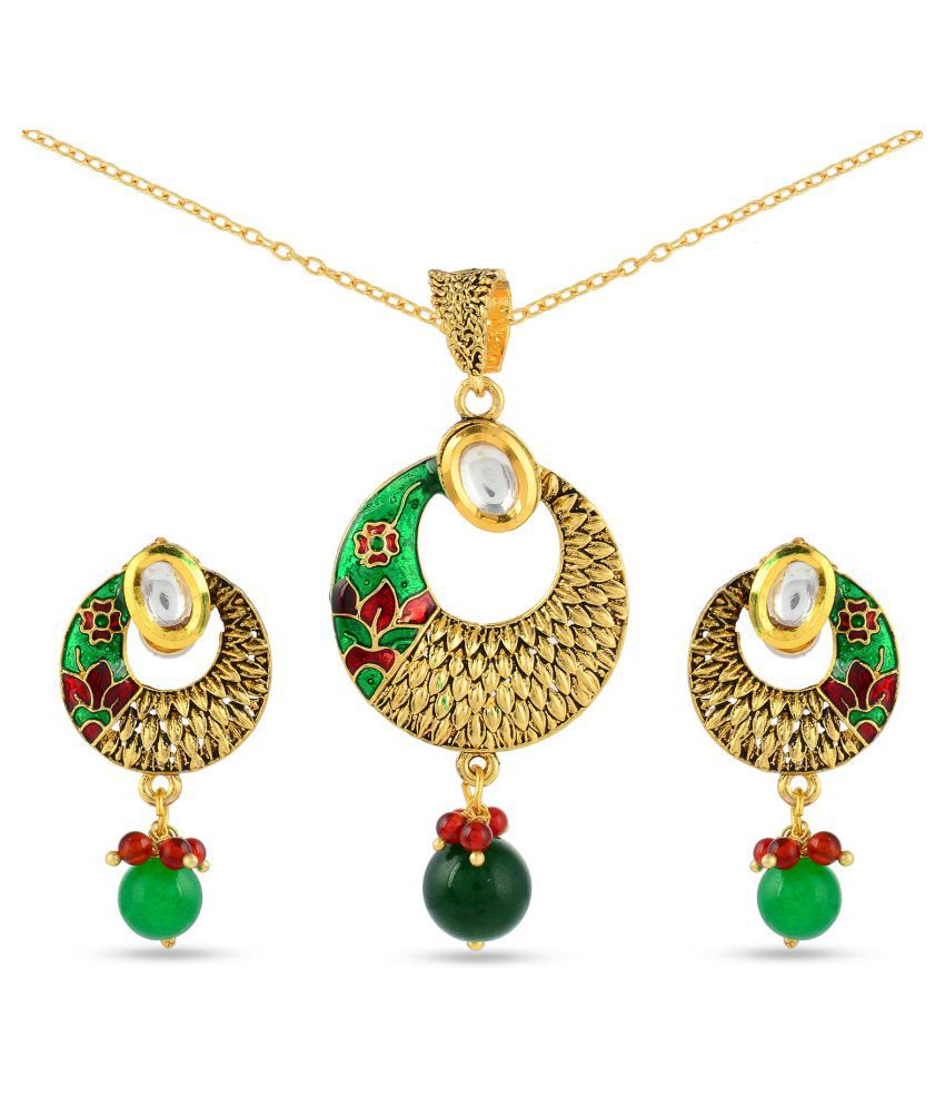 Tistabene Floral Enamelled Traditional Designer Trendy Stylish Fancy Party Wear Pendant Set For Women And Girls (PS-0652)