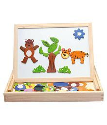 Assemble Wooden Toys Easel Kids Jungle Animal Magnetic Drawing Board Puzzle Painting Blackboard Learning & Education Toys (Multicolor)