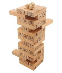 Tumbling Tower 52 Wooden Building Block Party Games (24 cm Tall) (WNTb045)