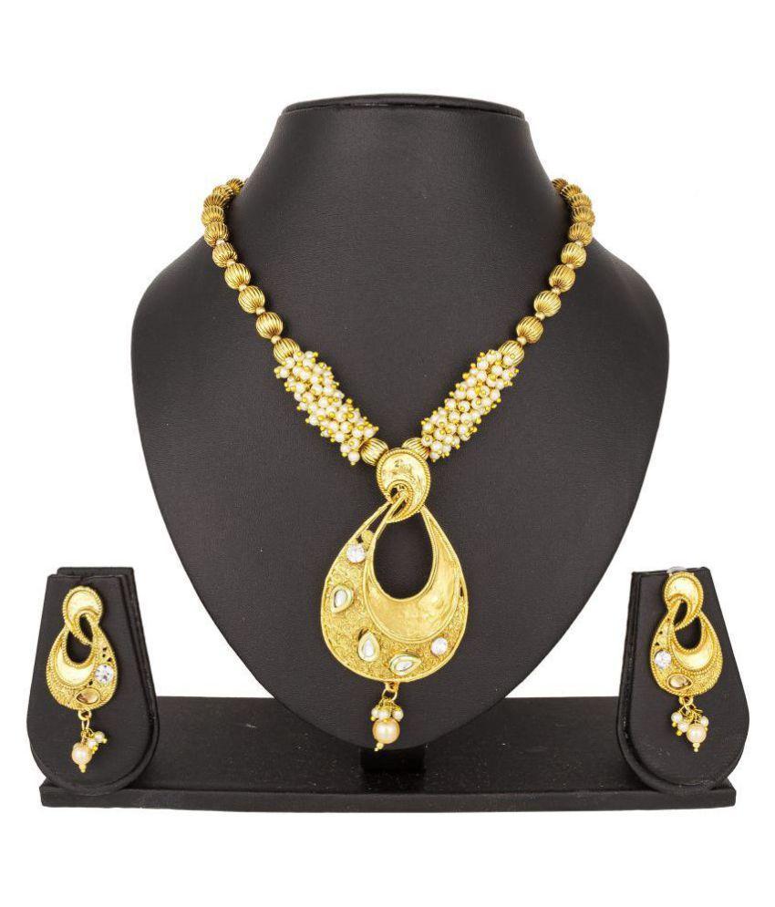 Pankh Golden Antique Necklace Set