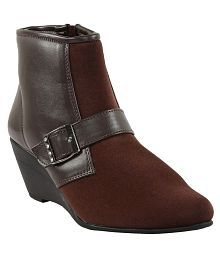 Shoe Bazar Brown Ankle Length Bootie Boots