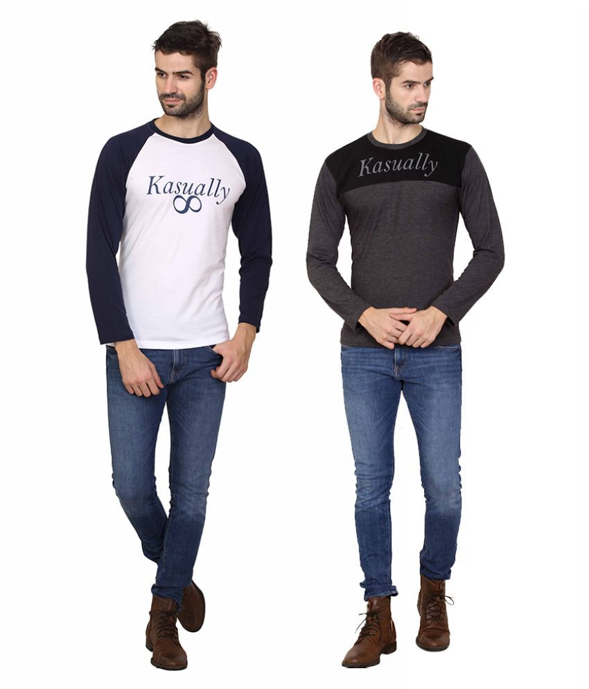 Kasually White Round T-Shirt Pack of 2