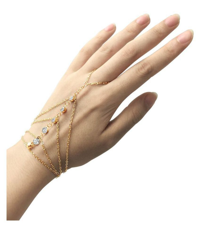 Ziory Gold Plated Crystal Finger Ring Bracelet Hand Chain For Women S