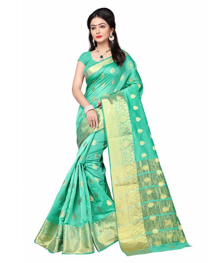 Multi Retail Green and Beige Cotton Silk Saree