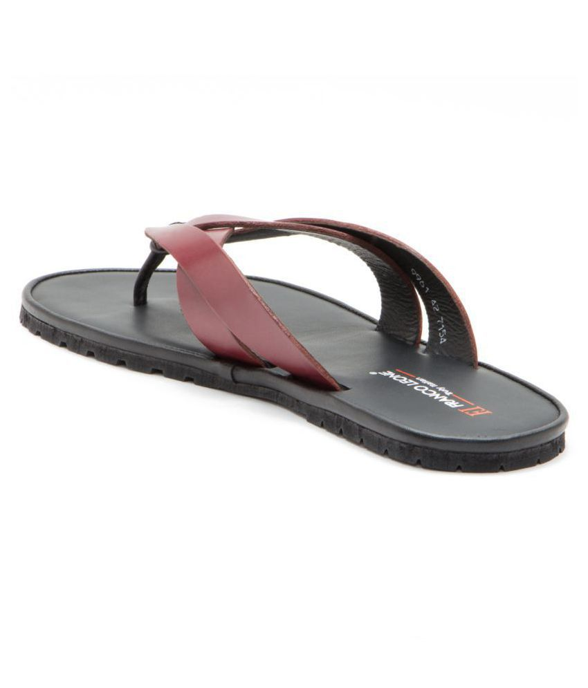 4a1af4e53a39 Franco Leone 9961 Red Leather Slippers Price in India- Buy Franco ...