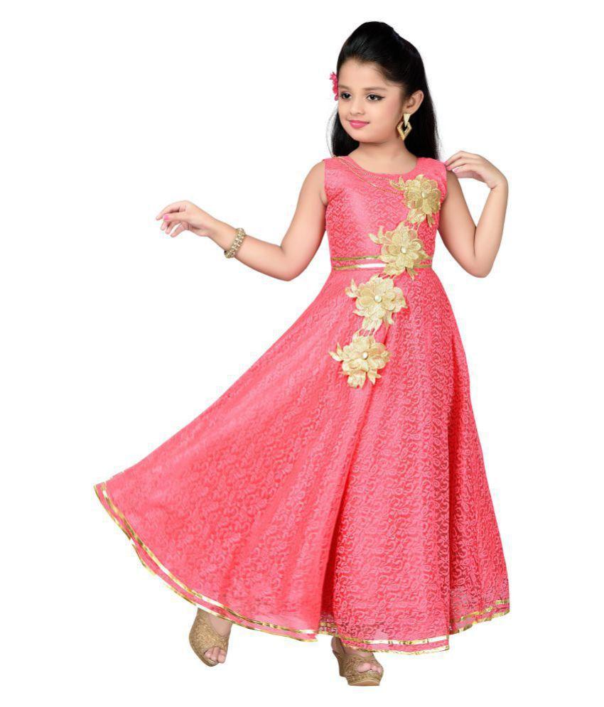Aarika Girls Self Design Flower Net Fabric Party Wear Ball Gown