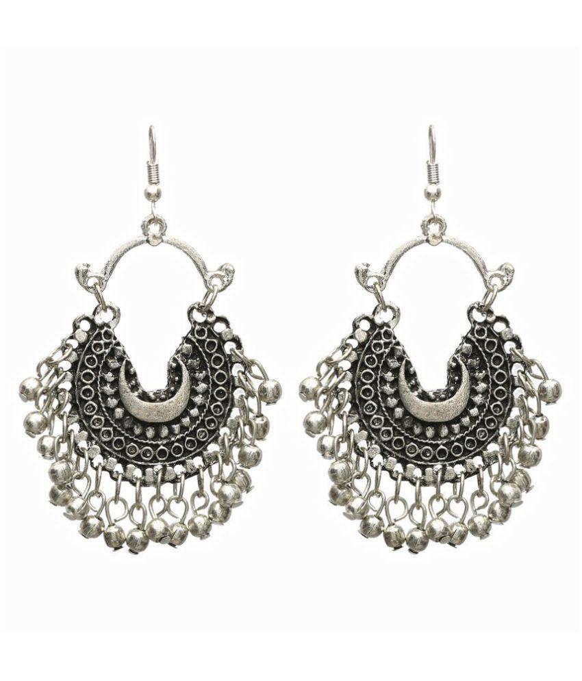 Black Metal Afghani Earrings For Women Tribal Afghan Boho S In Silver