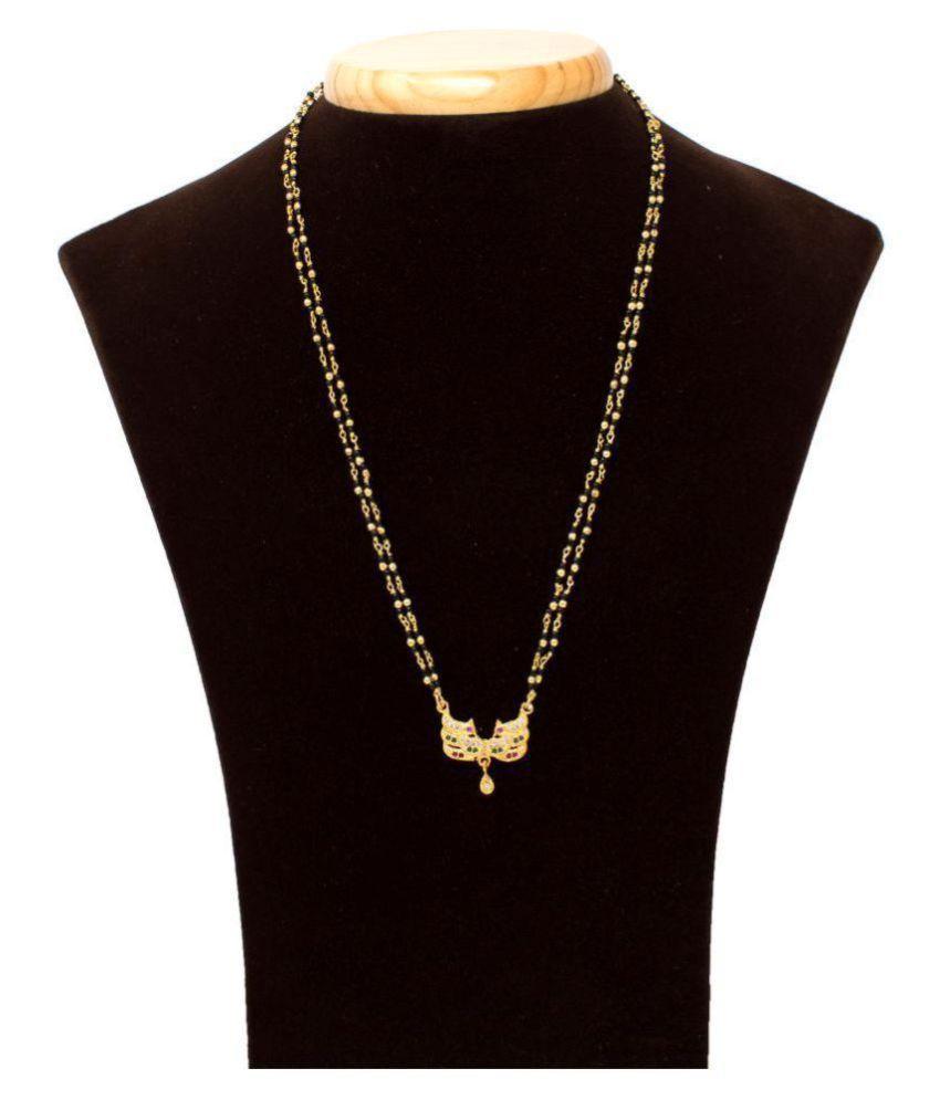 IMC DEALS Indian Mangalsutra 22K Gold Plated Black Beads 20