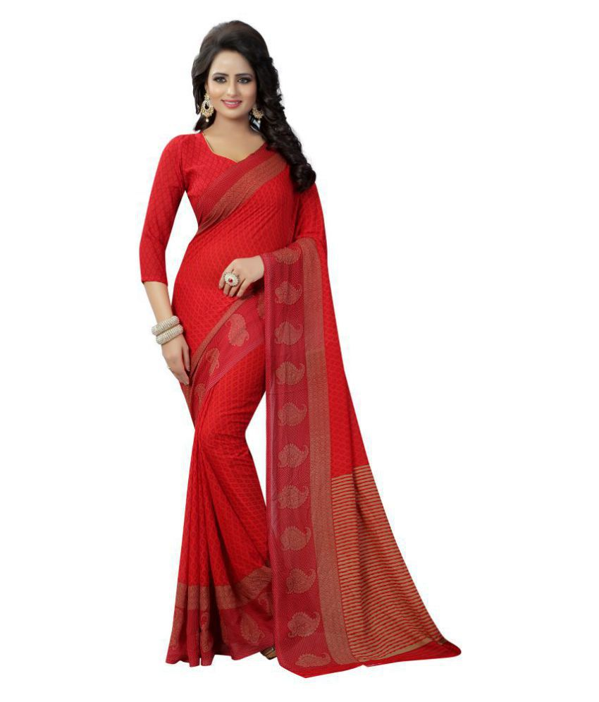 Indian Robe Red Georgette Saree