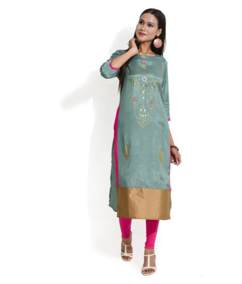 Jenifry Green Viscose Straight Kurti