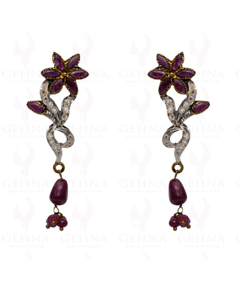 Ruby & White Topaz Gemstone Studded Victorian Earring In Silver