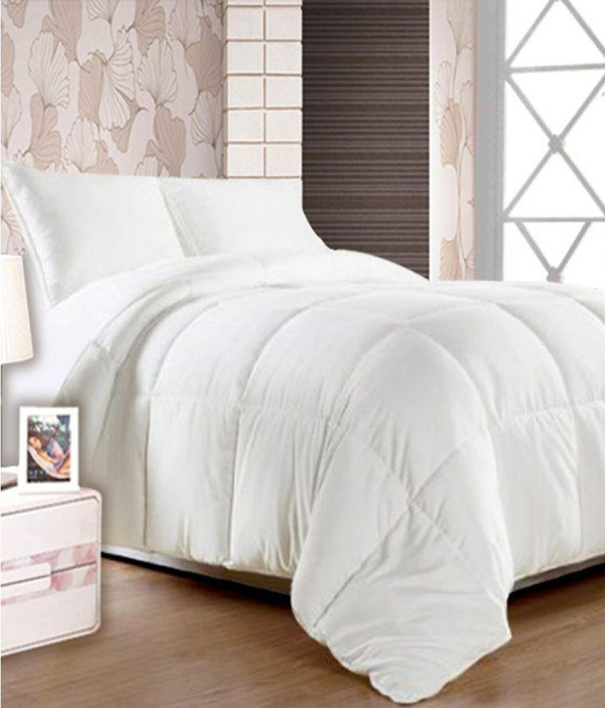 Story Home King Cotton Plain White Comforter Coordinated