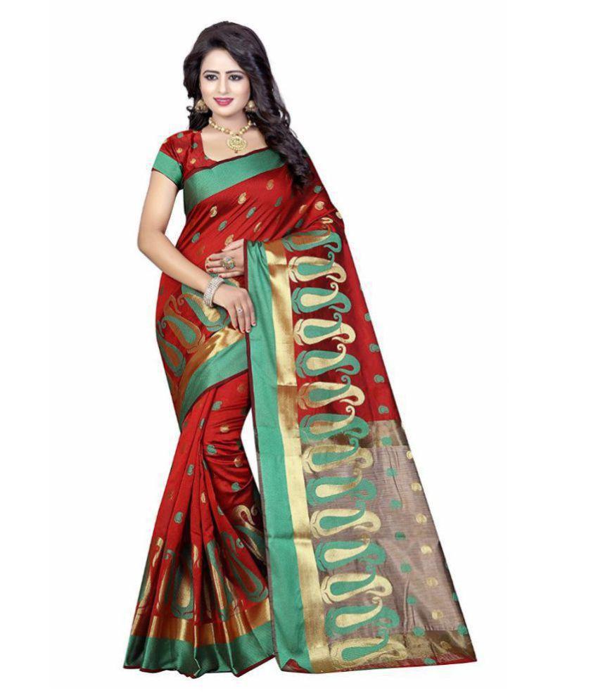 Vandvshop Red Banarasi Silk Saree