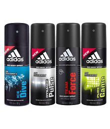 Adidas - 4 Assorted Flavours of Deodorant