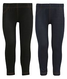 Black and Navy Blue Jegging For Girls - Pack Of 2