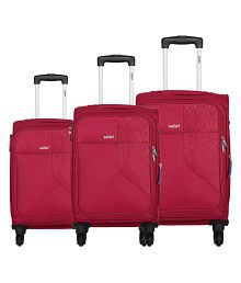 Safari Red L(Above 70cm) Check-in Soft BADGE 55/65/75 4W SET RED Luggage