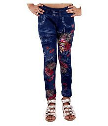 Ziva Fashion Girls Floral Printed Blue Denim Jeggings