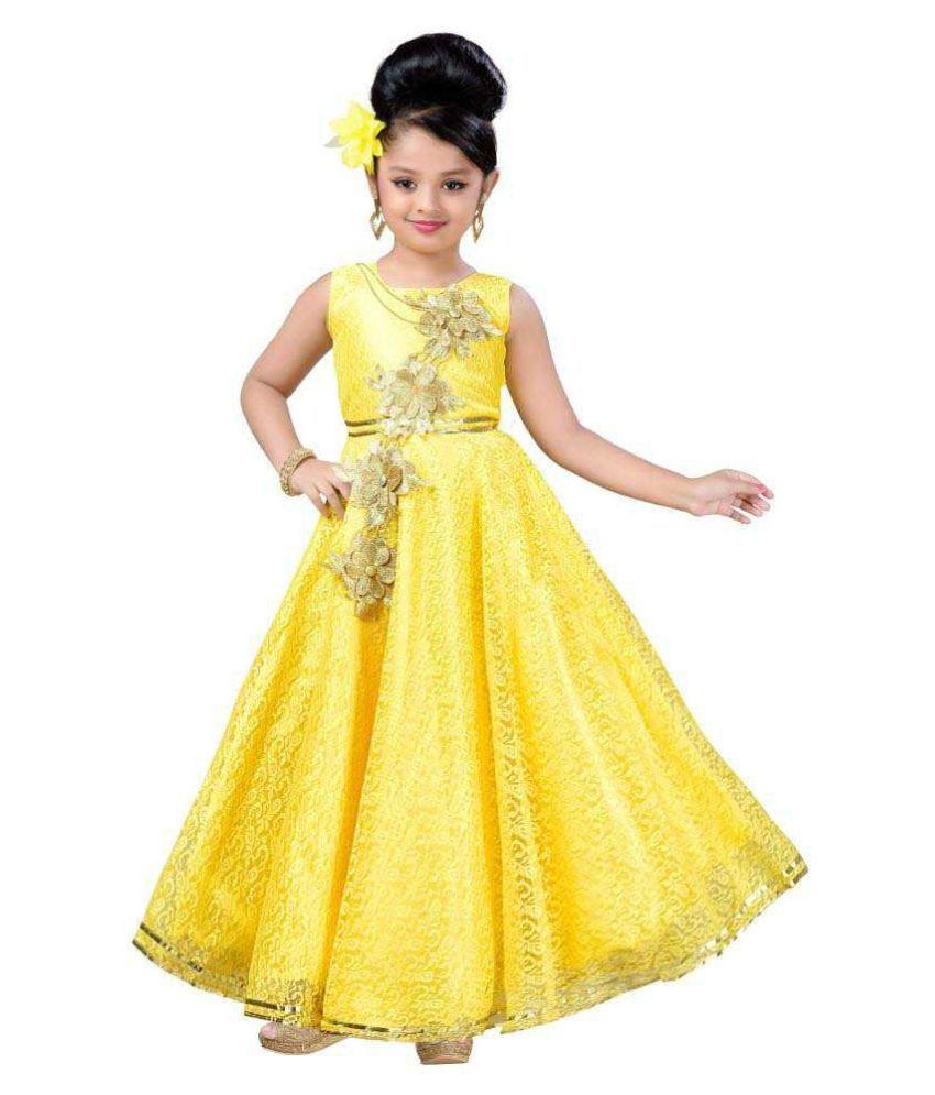 186fb98746c Aarika Girl's Self Design Flower Net Fabric Party Wear Ball Gown