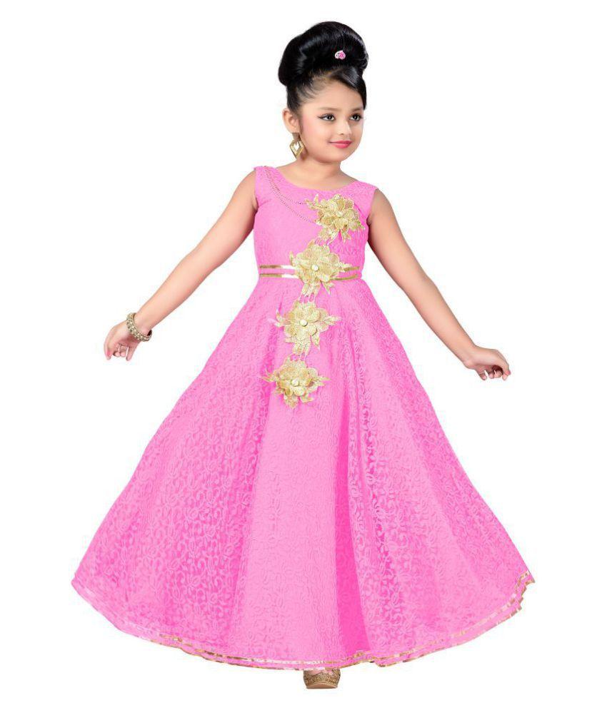 Aarika Pink Net Partywear Girl Gowns Dress