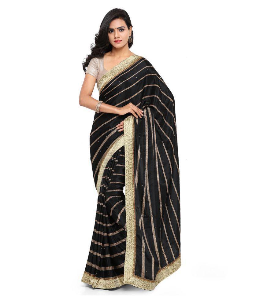 fba037558a Aradhya Black Crepe Silk Saree - Buy Aradhya Black Crepe Silk Saree Online  at Low Price - Snapdeal.com