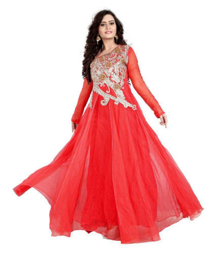 Era Hub Red Net Dress Material