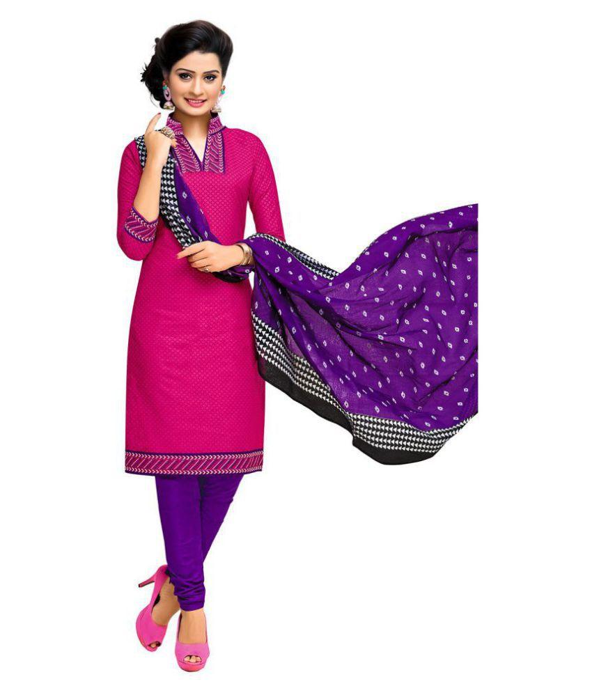 Jevi Prints Pink Cotton Dress Material