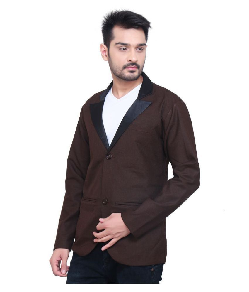 nu abc garments Brown Solid Casual Blazers