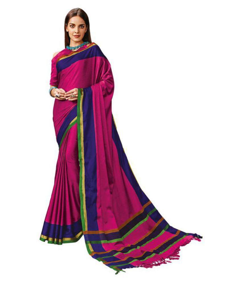 Aura Pink Cotton Blend Saree