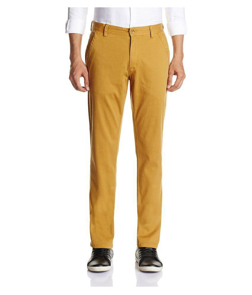 Arrow Yellow Slim -Fit Flat Trousers