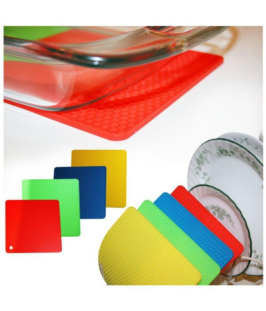 Multipurpose Square Heat Resistant Silicone Pot Holder, Jar Opener Trivet Spoon Rest Coasters - Set of 4 (Assorted Colors)