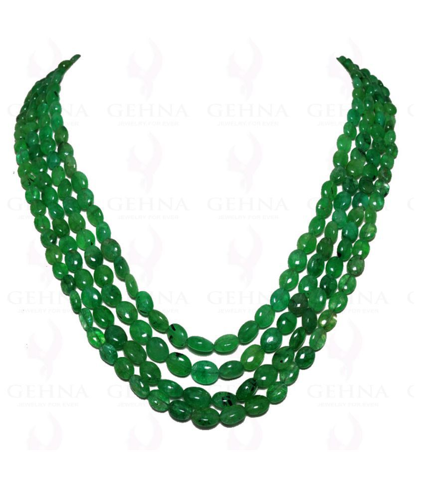 4 Lines 530 Carats Emerald Gemstone Oval Shaped Beads Necklace