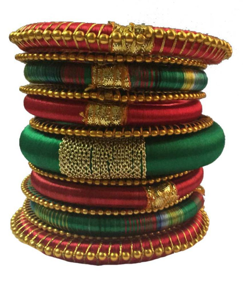 Nikush Handcrafted Silk Dori Bangle Set