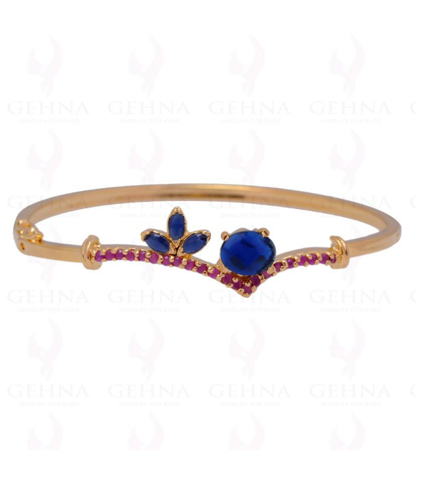 Sapphire & Ruby Color Stone Studded Bangle