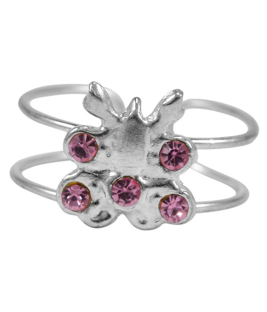 Silvesto India Pink Quartz Adjustable Toe Ring PG-132729