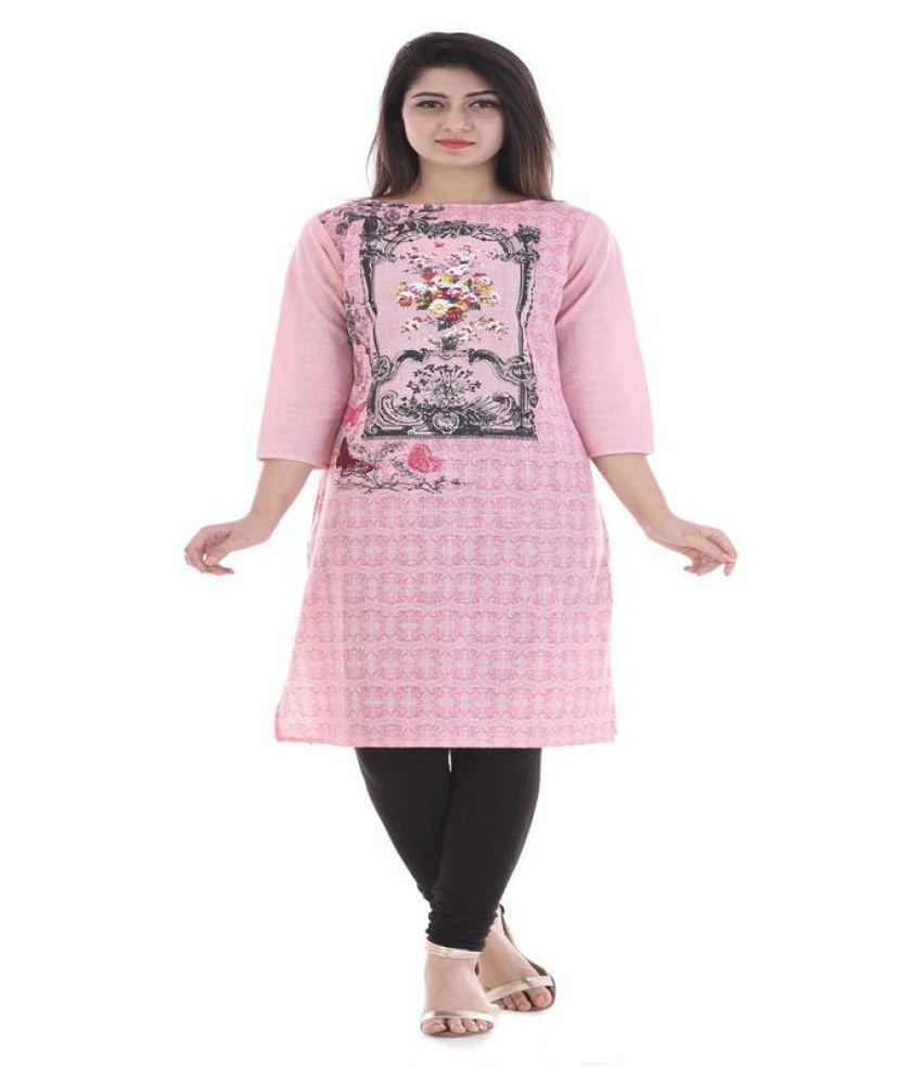 Irija Market Pink Cotton Front Slit Kurti