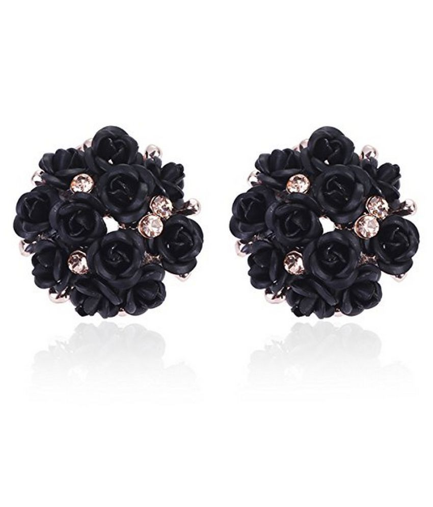 Jewels Galaxy Limited Edition Elegant AAA AD Delicate Rose Design Traditional Adorable Gold Plated Earrings For Women/Girls