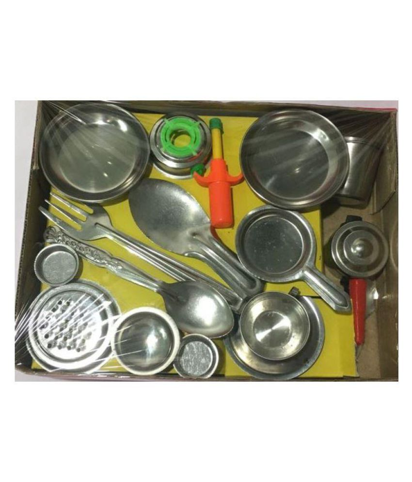 Kids Stainless Steel Kitchen Set 18 Pieces Buy Kids Stainless