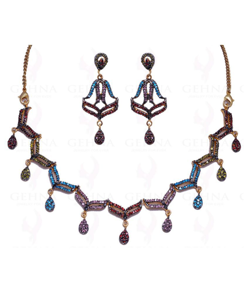 MULTI COLOR STONE STUDDED NECKLACE & EARRING SET