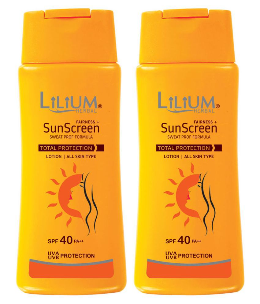 Lilium Herbal Sunscreen Face Body Lotion Spf 40 100 Ml Pack Of 2 Sp 100ml