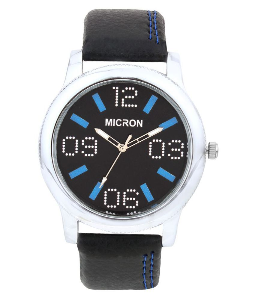 e4d6f7282 Micron Black Leather Analog Watch - Buy Micron Black Leather Analog Watch  Online at Best Prices in India on Snapdeal