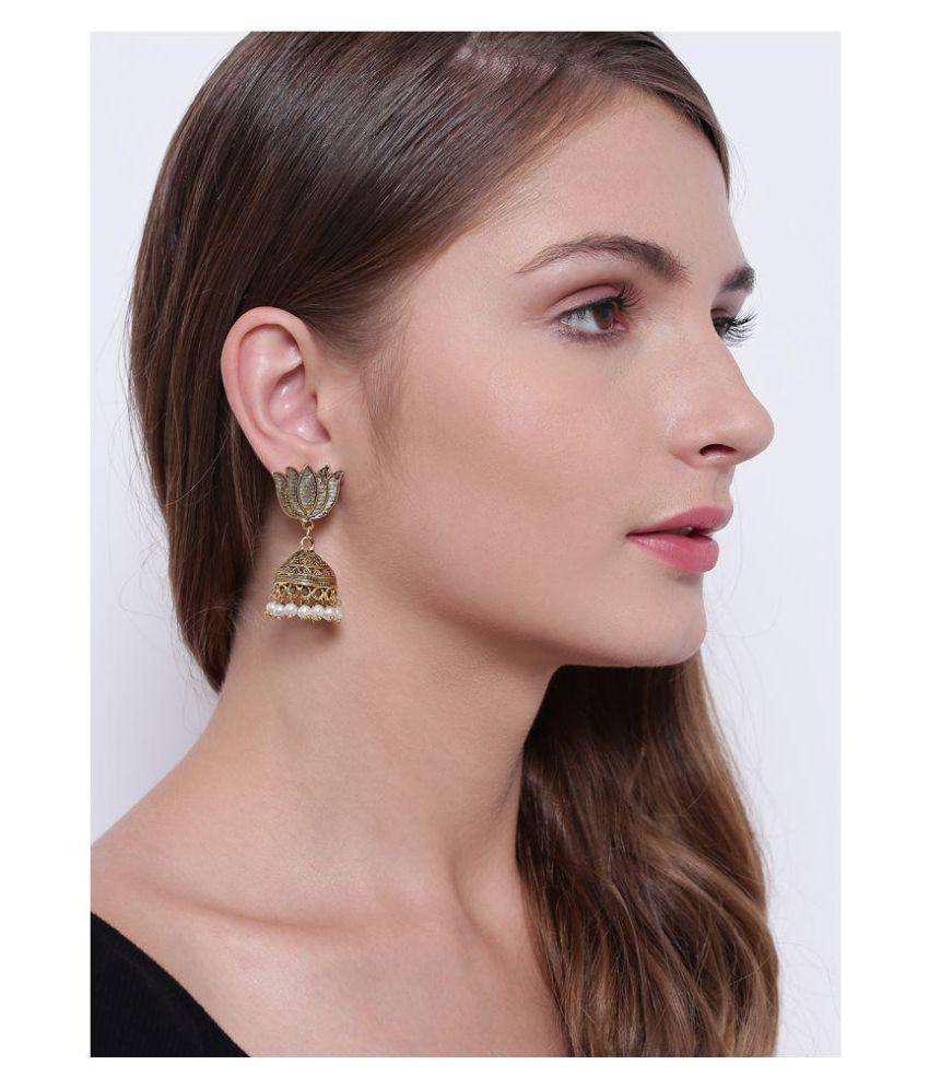 Prita's Lotus Inspired Oxidized Brass Metal/Germen Silver Jhumki/Earring for Women or Girl