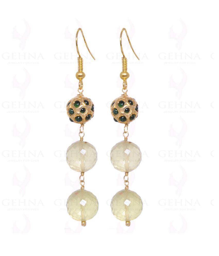 lemon topaz gemstone bead earrings with emerald studded jadau ball