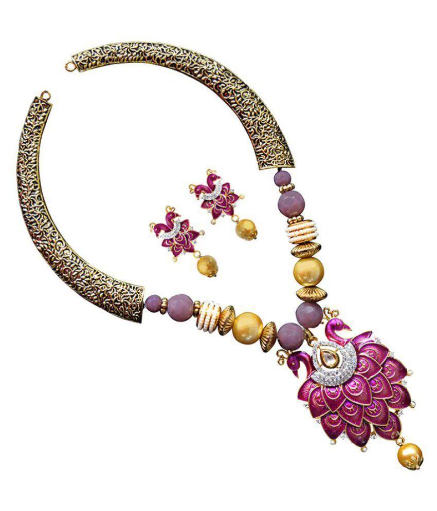 Designer  American Diamond studed meenakari necklace set-101