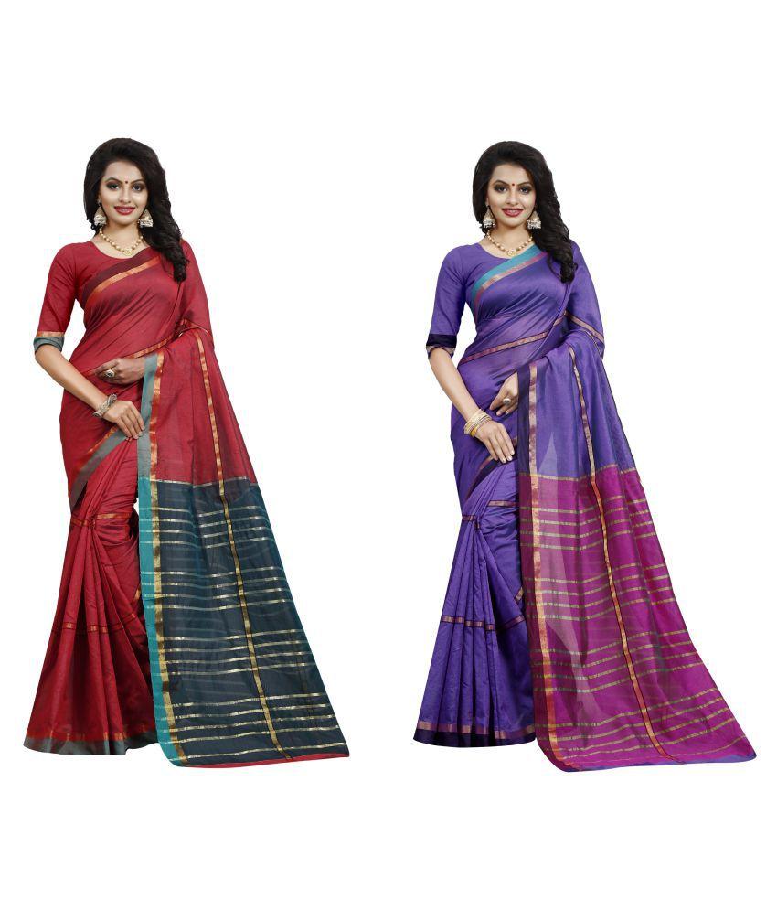 bindani studio Multicoloured Cotton Silk Saree Combos
